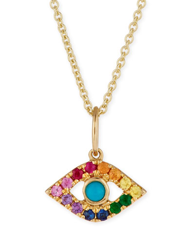 14k Large Rainbow Sapphire Evil Eye Pendant Necklace