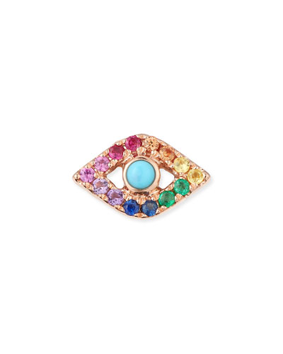 14k Large Rainbow Sapphire Evil Eye Single Stud Earring