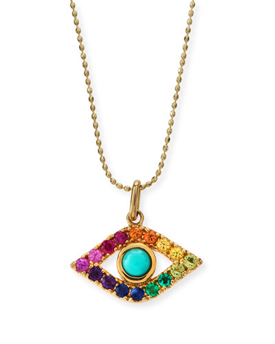 Large Evil Eye Rainbow Sapphire Pendant Necklace