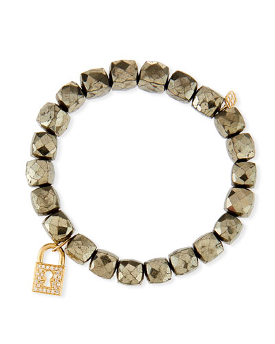 14k Pyrite Beaded Stretch Bracelet w/ Lock Charm