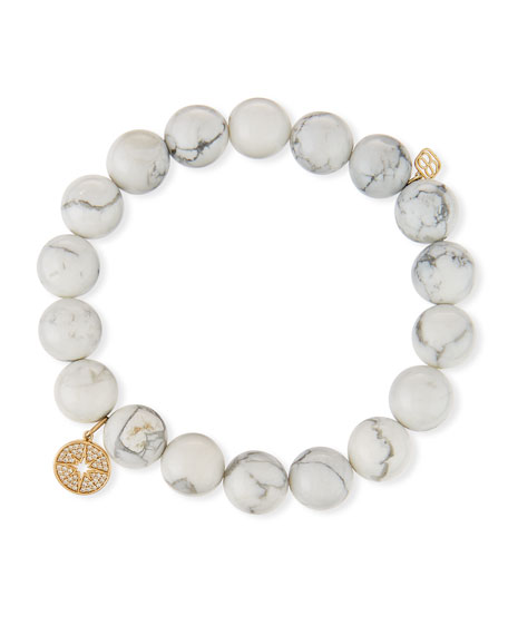 Sydney Evan Howlite Beaded Stretch Bracelet w/ 14k Starburst Charm