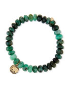8mm Emerald Bead & 14k Elephant Bracelet
