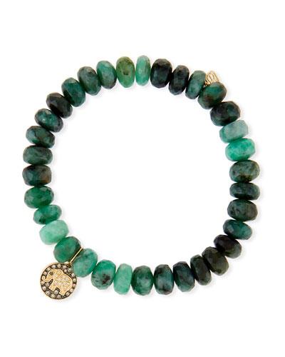 8mm Emerald Bead & 14k Elephant Bracelet