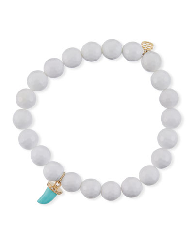 14k Agate Beaded Stretch Bracelet w/ Turquoise Horn