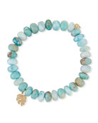 8mm Larimar Bead & 14k Monstera Leaf Bracelet