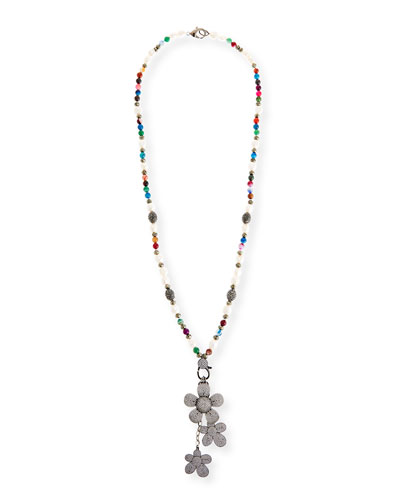 Camellia Long Beaded Charm Necklace
