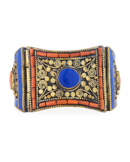 Devon Leigh Antiqued Lapis & Coral Cuff Bracelet