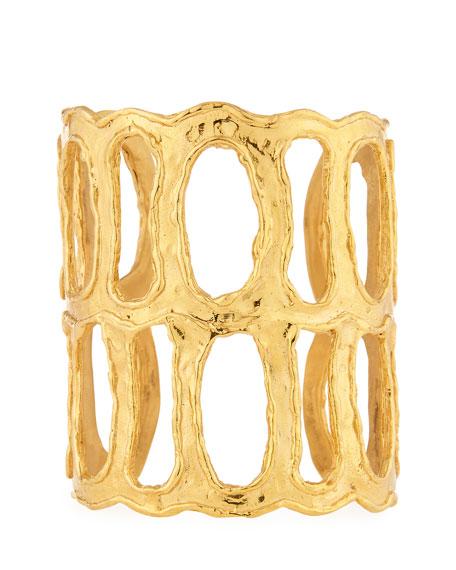Devon Leigh Textured Double Open Cuff Bracelet