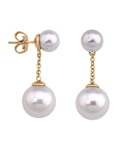Quick Look Majorica Simulated Pearl Chain Drop Earrings