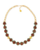 Antiqued Coral Bead Nugget Necklace