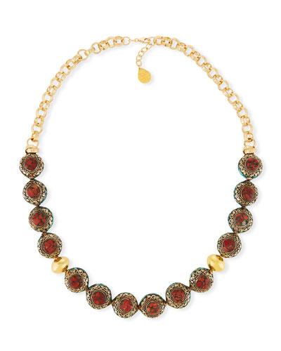 Devon Leigh Short Pink Opal Nugget Beaded Necklace dd4RL5