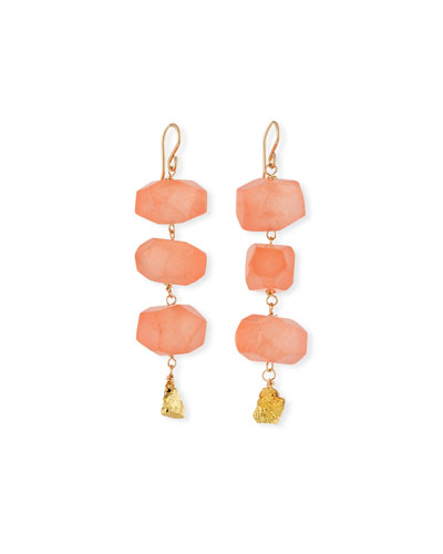 Carnelian & Pyrite Nugget Earrings
