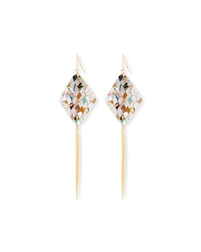 Mosaic Shell Spike Drop Earrings