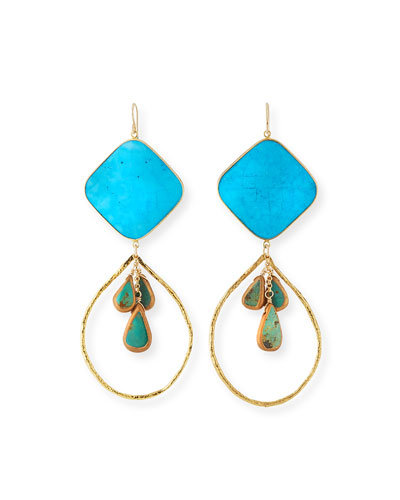 Large Turquoise Cluster Drop Earrings