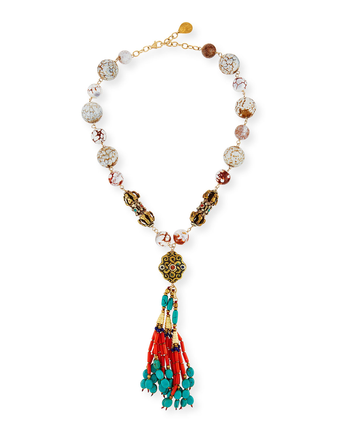 Beaded Coral & Turquoise Tassel Necklace