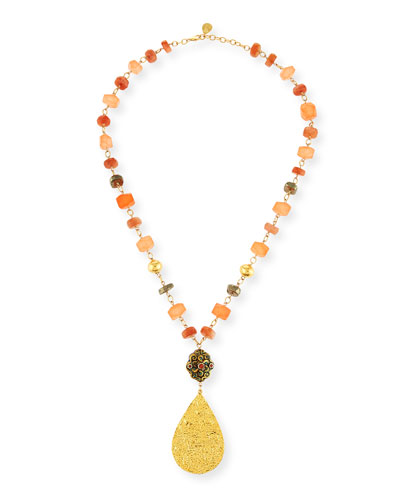Mixed Beaded Teardrop Pendant Necklace