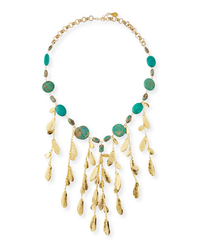 Mixed Turquoise & Leaf Bib Necklace