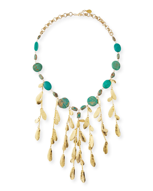 Mixed Turquoise & Leaf Bib Necklace