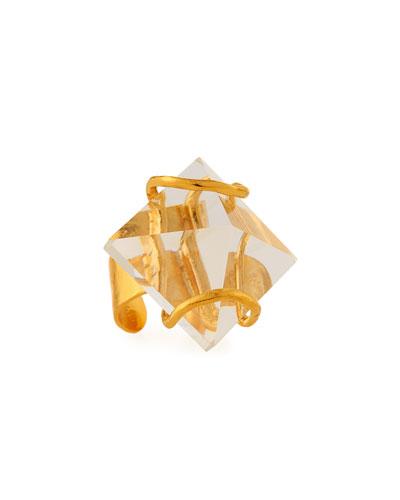 Adjustable Quartz Pyramid Ring