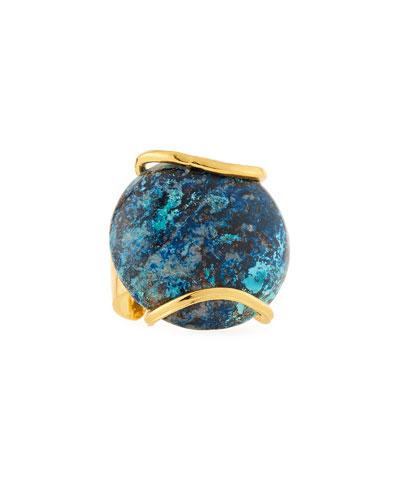 Adjustable Round Chrysocolla Ring