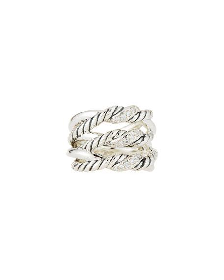 David Yurman Continuance® Silver Three-Row Ring w/ Diamonds