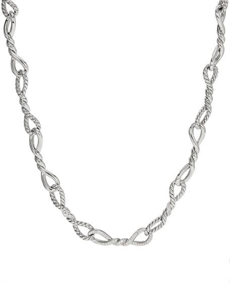 "David Yurman Continuance Silver Diamond & Link Necklace, 17"""