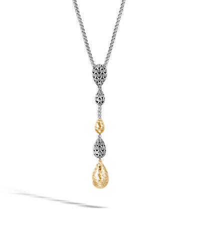 18k Classic Chain Hammered Y-Drop Necklace