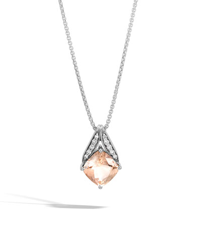 Modern Chain Silver Pave Magic Cut Pendant Necklace in Champagne Topaz, 16