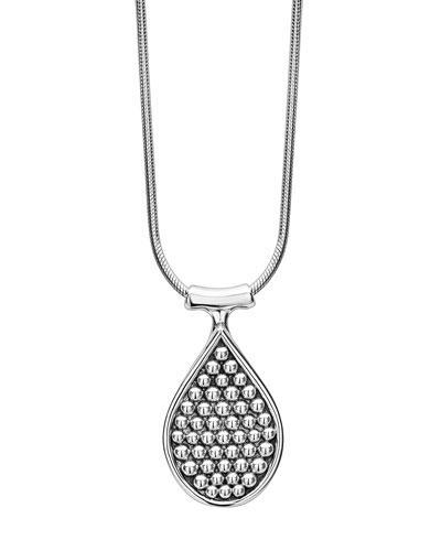 Bold Caviar Teardrop Pendant Necklace, 32