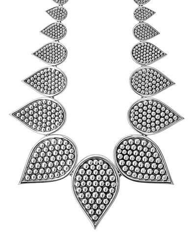 Graduated Caviar Teardrop Collar Necklace, 18