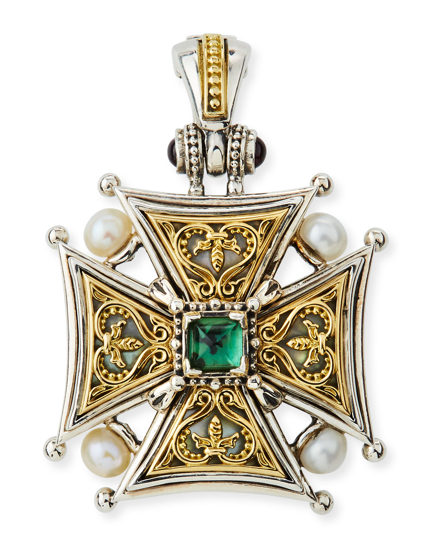 Hestia Cross Pendant w/ Green Tourmaline
