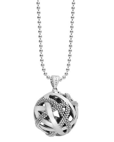 Caviar Talisman Woven Knot Pendant Necklace, 34