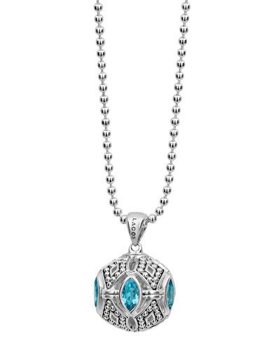 Lagos Caviar Talisman Marquise Ball Pendant Necklace, 34