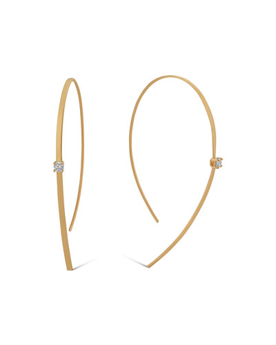 14k Solo Hooked On Hoop Diamond Earrings