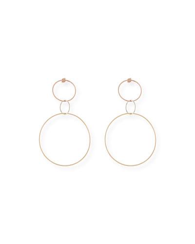 14k Triple Hoop Dangle Earrings