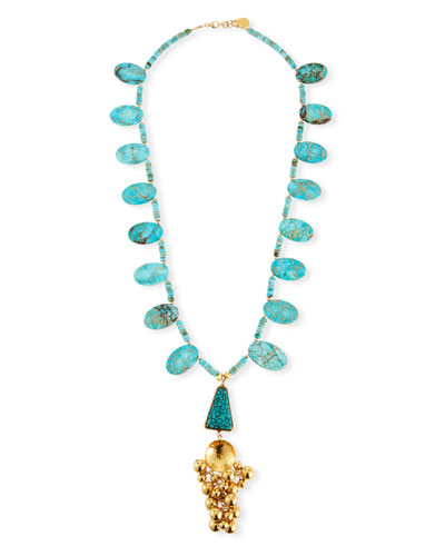 Turquoise Ball Cluster Pendant Necklace, 32