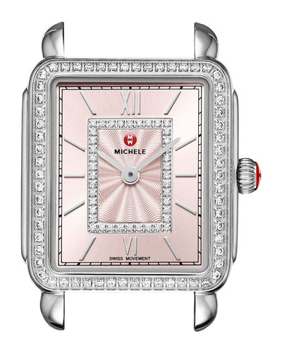 Deco II Midsize Diamond Watch Head, Blush Dial