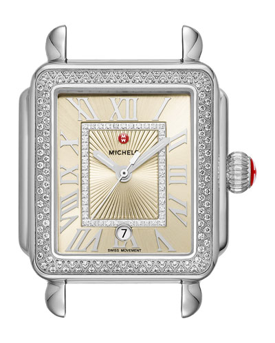Deco Madison Stainless Steel Watch Head with Diamonds, Champagne/Silver