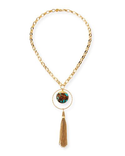 Turquoise & Bronzite Tassel Pendant Necklace