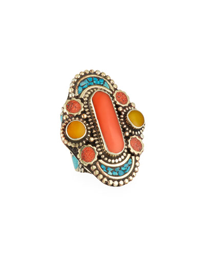 Devon Leigh Antiqued Turquoise & Coral Statement Ring, Adjustable Size