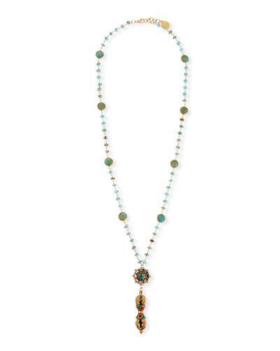 Turquoise & Coral Long Pendant Necklace