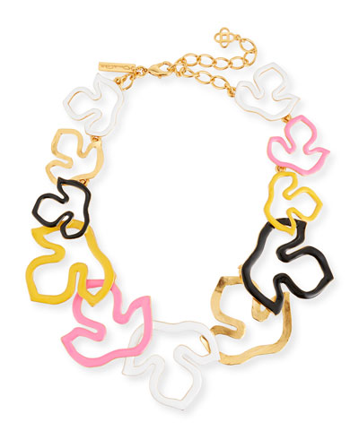 Foliage Outline Painted Necklace