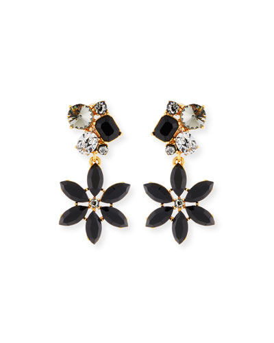 Crystal Flower Clip-On Earrings