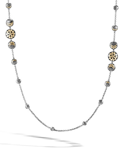 Dot Silver/Gold Moon Phase Station Necklace, 36