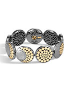 Dot Moon Phase Hammered 18k Gold & Sterling Silver Bracelet