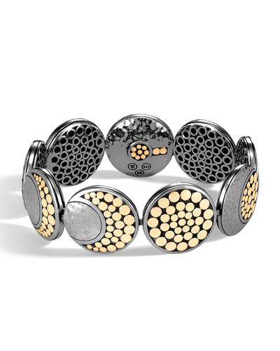 Dot Moon Phase Hammered 18k Gold & Sterling Silver Bracelet