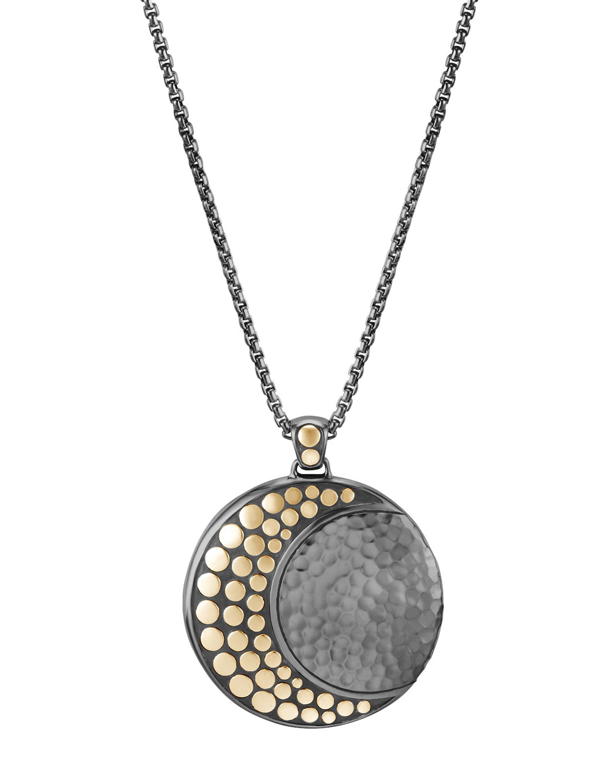 Blackened Sterling Silver & 18K Bonded Gold Dot Hammered Moon Pendant Necklace, 36 in Yellow/Silver