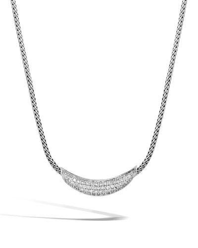 Classic Chain Silver Diamond Arch Necklace, 18