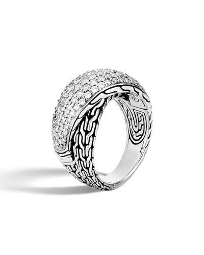 Classic Chain Arch Diamond Pave Silver Crossover Ring