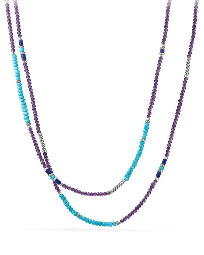 Tweejoux® Long Bead Necklace in Purple/Blue Stone Mix, 36